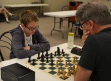 Youth vs. Experience:  James Kleshinski (left) faces off with Dan Sajkowski.
